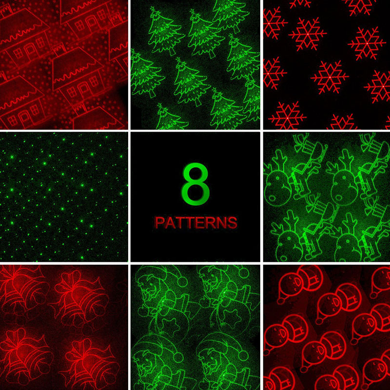 Laser Projector RF Remote RG 8 Xmas Patterns lighting Outdoor Waterproof IP65 Garden Holiday Christmas show