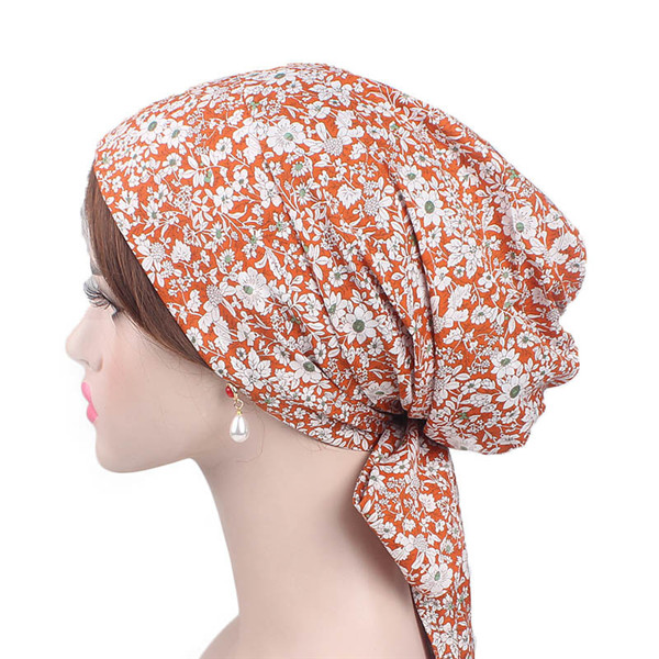 a66347702 New spring cotton head wear muslim beanies women 2019 Chemotherapy cap  flower grid fashion lady in month hats accessories