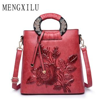 MENGXILU Vintage Női bőr táska 2018 Kínai Tote Bag Női táska táskák Női dombornyomtatás Retro Designer virágos SAC táska