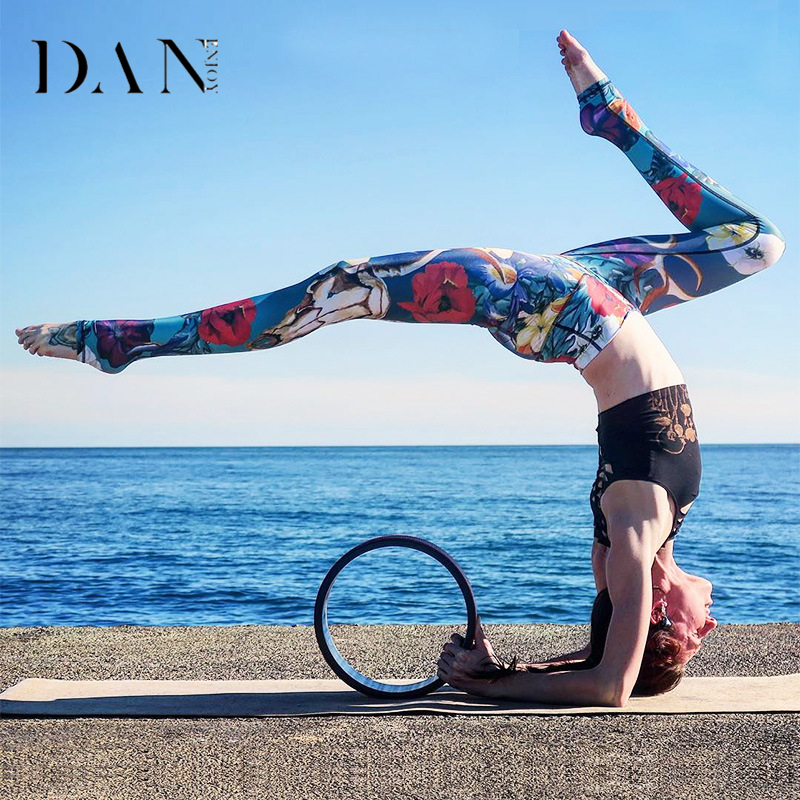 DANENJOY Women Floral Printed Leggings Yoga Pants Fitness High Waist Workout Sports Leggins Gym Running Tights Compression Pants