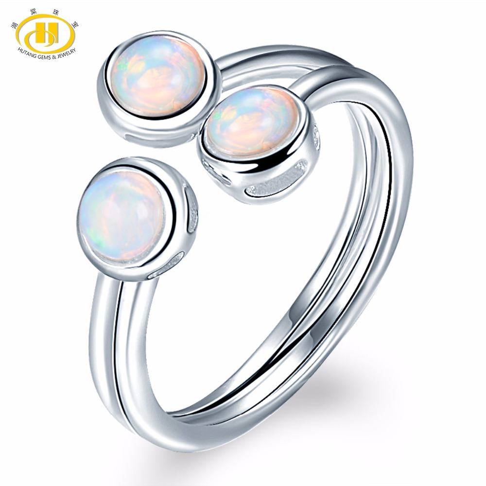 HUTANG Natural Opal Rings 925 Silver Engagement Open Ring Gemstone Fine Jewelry 3 Stone Classic Design for Women's Best Gift New