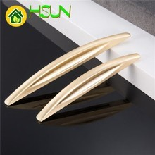 Modern Concise Zinc Alloy Handle Wire Drawing Golden Hardware Furniture Doorknob Cupboard Wardrobe