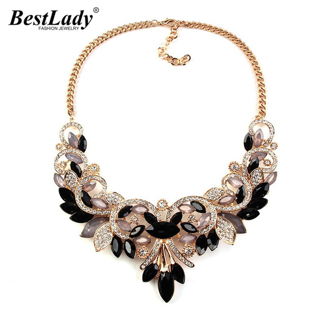 Best lady New Spring Colorful Crystal Women Brand Maxi Statement Necklaces & Pendants Vintage Turkish Jewelry Necklace 2605