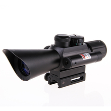 Best price Riflescope Hunting Tactical 4×30 Rifle Telescopic + Red Laser Sight+ Mount For Optics Tactical Telescopic Sight