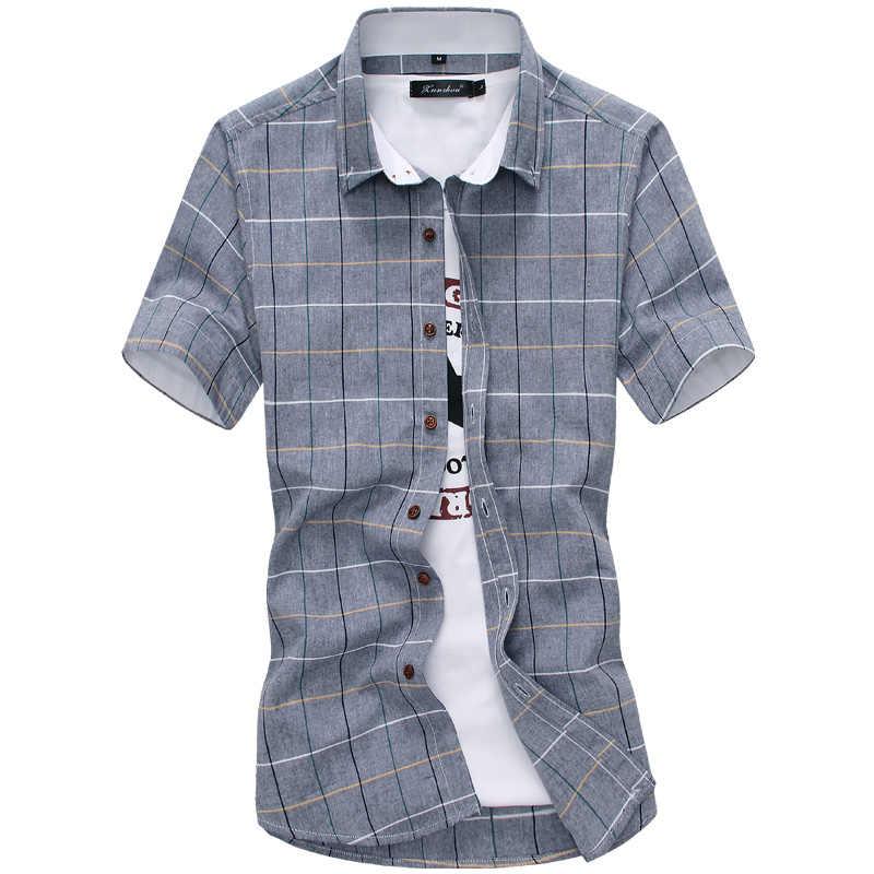 9a448d6c2 ... Plaid shirts Men 2019 New Fashion 100% Cotton Short Sleeved Summer Casual  Men Shirt camisa ...