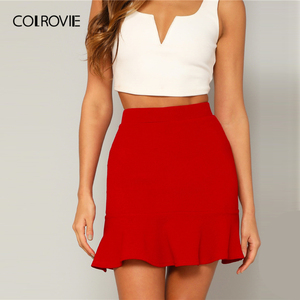 Image 3 - Женская офисная юбка карандаш COLROVIE, красная однотонная вечерняя мини юбка с оборками на подоле, лето 2019
