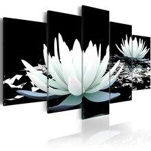 Printed HD Modern 5 Pieces Panel Printing Wall Art Canvas of Lotus Leaf