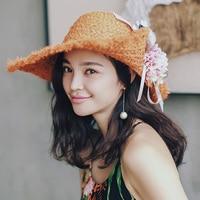 Summer sunbonnet beach Hat big floral Natrual RAFFIA STRAW HAT ladies classic fashion flower outdoor sun hat for women