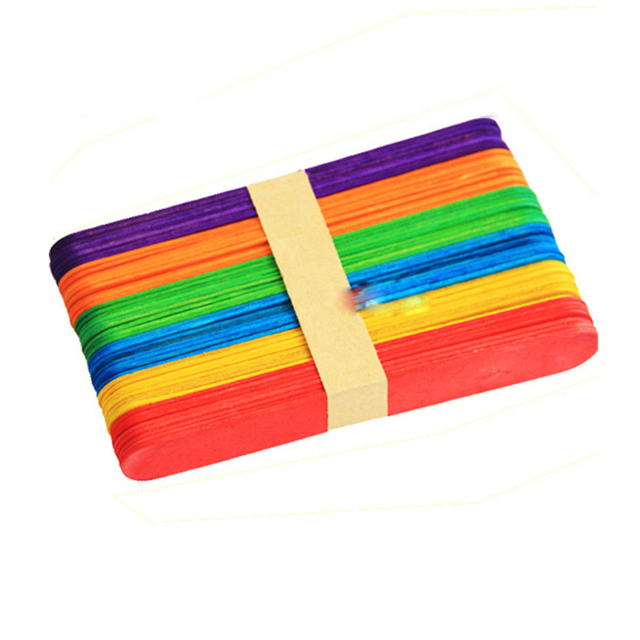 Colorful Wooden Ice Cream Sticks Set