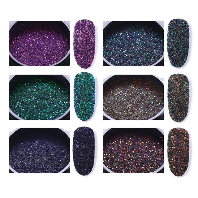 6 Boxes Holographic Nail Powder Glitter Laser Colorful Nail Art Decorations Manicure Chrome Pigment Decoration Set for UV Gel