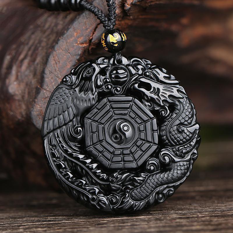 Přírodní černý obsidián ručně vyřezávané čínský drak Phoenix BaGua Lucky Amulet přívěsek náhrdelník módní šperky velkoobchod