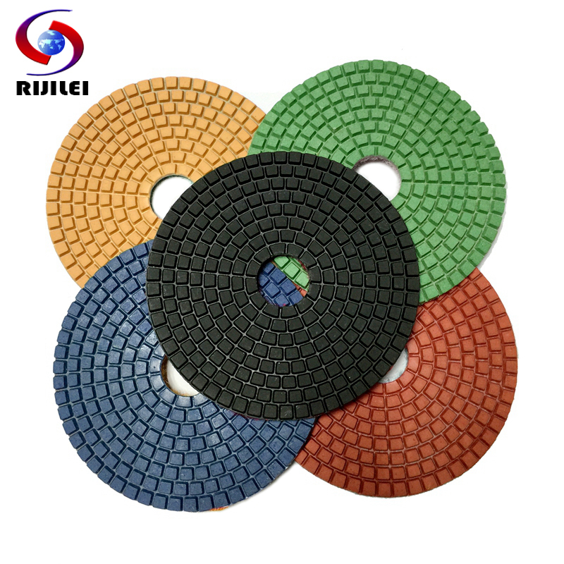 RIJILEI 7pieces/lot 125mm Diamond Polishing Pad For Granite Marble Stone Floor 5inch Wet Polishing Pads Granding Disc 5DS1
