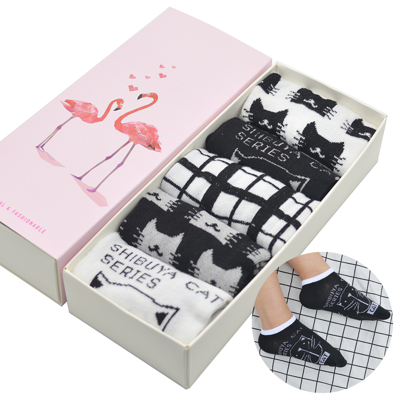 5 Pair/set Black White Cat Cotton Women Short Casual   Socks   Cute Cartoon Cat Women Summer Short Ankle   Socks   with Gift Box