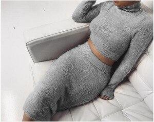 Image 2 - Autumn 2pcs Set Women Bandage Suit Long Sleeve Fleece Crop Top Pencil Midi Skirt Solid Bodycon Dress Sweater Tracksuit Outfit