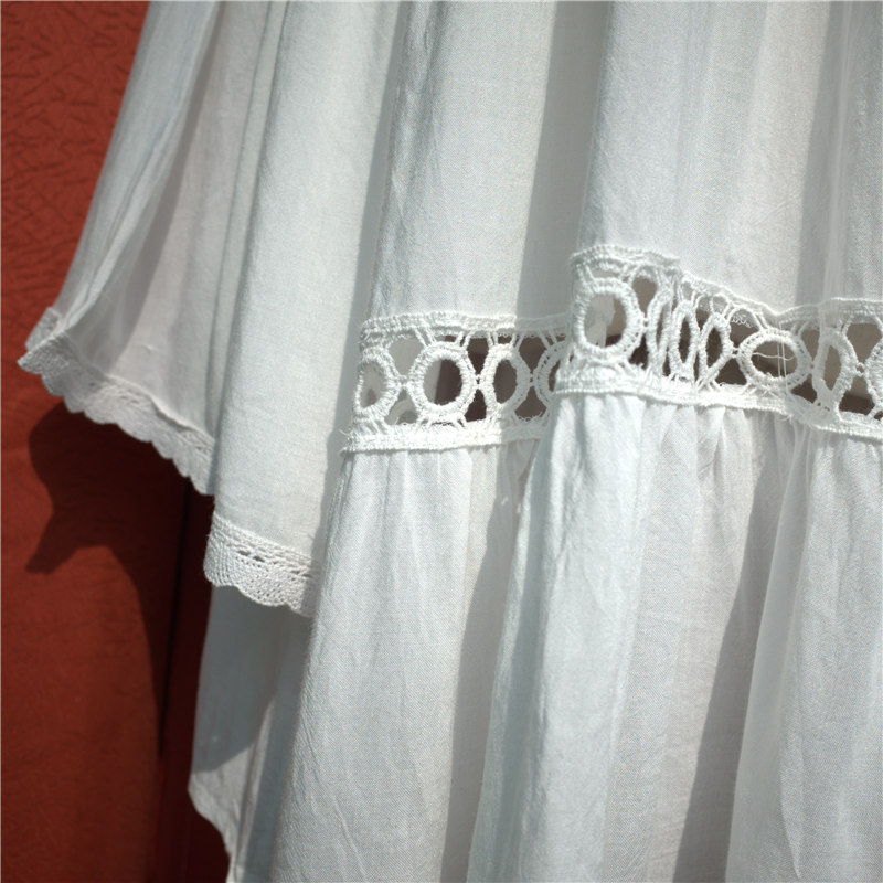 Women Swimsuit Cover Ups Mandarin Sleeve Kaftan Beach Tunic Dress Robe De Plage Solid White Cotton Pareo Beach Cover Up #Q429 4