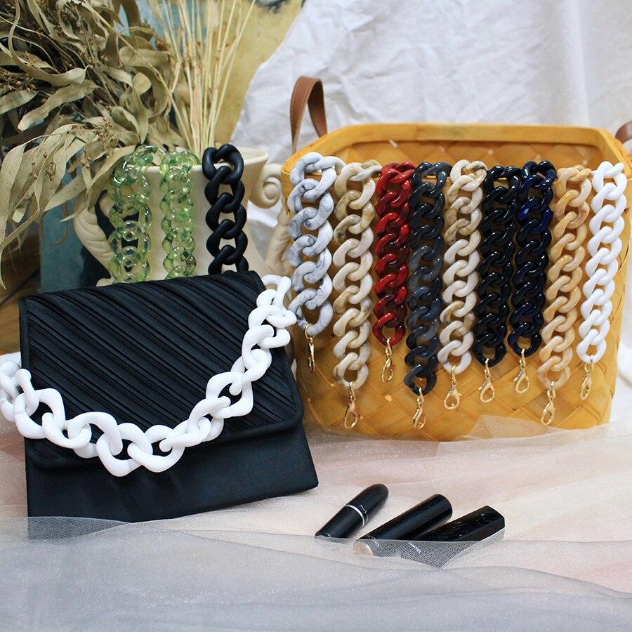 36cm Short Acrylic Bag Strap For Handbag Women Detachable Resin Thick Diamond Chain Shoulder Straps Bag Accessories Vintage