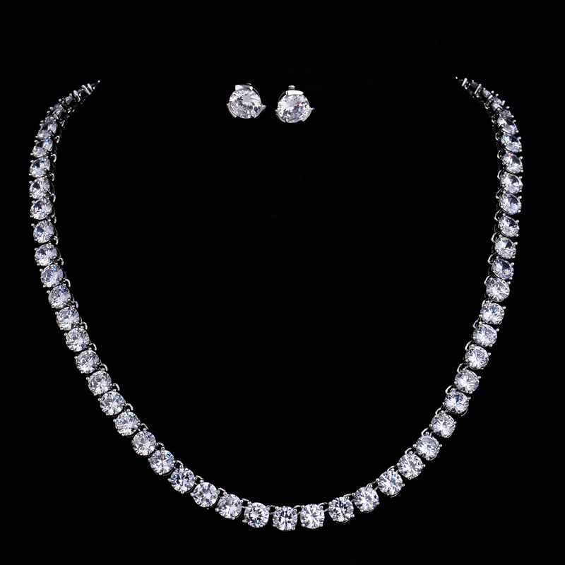 HIBRIDE Fashion Jewelry Austrian Crystal Necklace Earrings Real White Gold Color Jewelry Sets For Bridal Gifts N-75