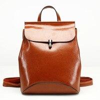 Luxury Oil wax Genuine Cow leather women backpack Small women's travel bags Multifunction korean fashion women shoulder bags