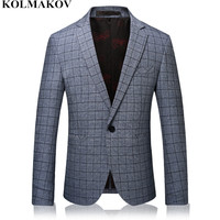 NEW Mens Blazers High end Grey plaid Blazer Men's coats slim Business Casual Suits Jackets for Men skinny Plus size M 3XL