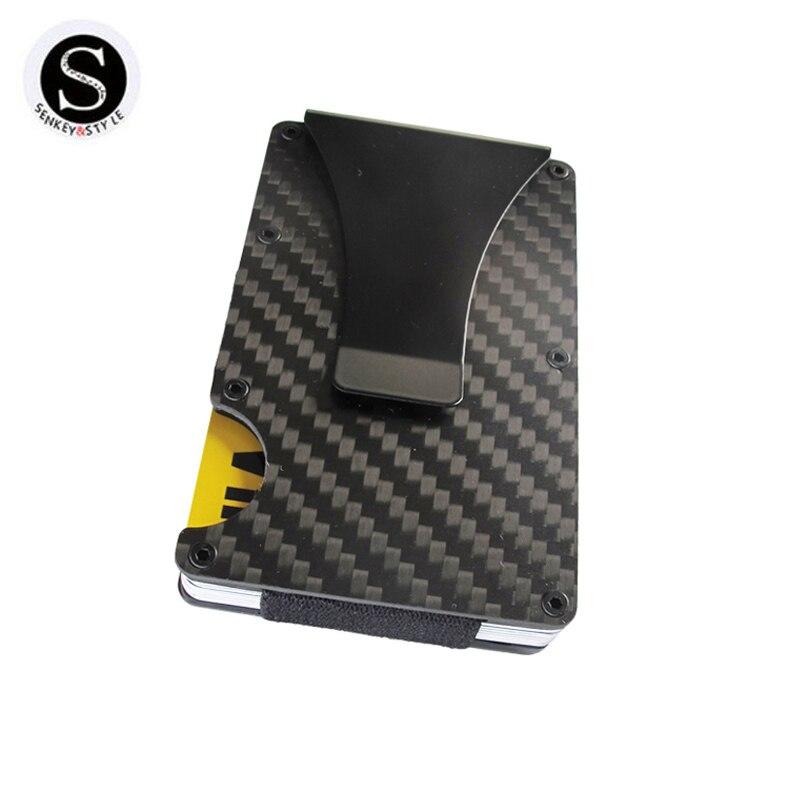 Fibra de carbono Metal Mini Slim Cartera de tarjeta de crédito titular de la identificación con RFID jefe tarjeta porte Carte