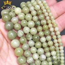 Natural verde de China cuentas de piedra de jade redondo cuentas espaciadoras sueltas para fabricación de joyería DIY pulsera collar 15''Pick tamaño 4/6/8/10mm
