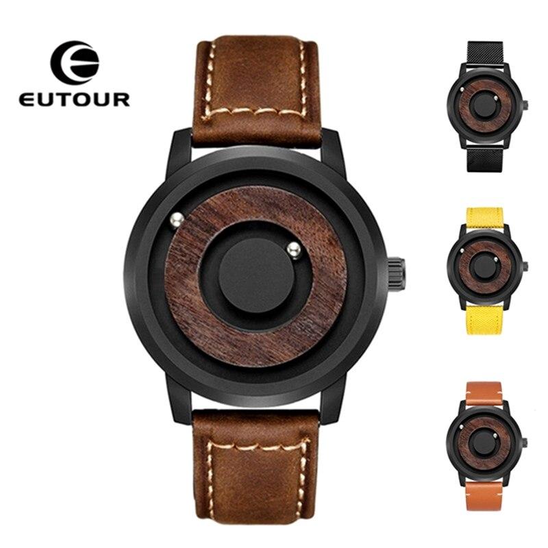 EUTOUR montre à billes magnétiques homme toile Bracelet en cuir montre-Bracelet pour hommes Bracelet de mode montre à Quartz étanche horloge mâle