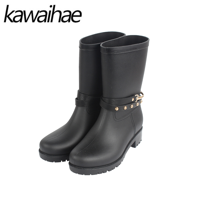 Round Toe Women Boots Rain Shoes Mid-calf Female Waterproof Rainboots Rubber Shoes Kawaihae Brand Martins 707X double buckle cross straps mid calf boots