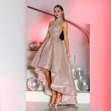 Розовое золото Высокая Низкая Выпускные платья трапециевидной формы с блестками Hi-Lo вечерние платья для выпускного вечера платья для особых случаев вечерние платья