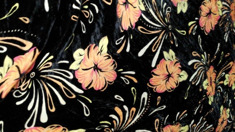 2018 New Yellow Flowers Printed Jacquard Silk Fabric Silk Velvet Fabric Material Tulle Hair Coton Tissu Au Metretelas Por Metros