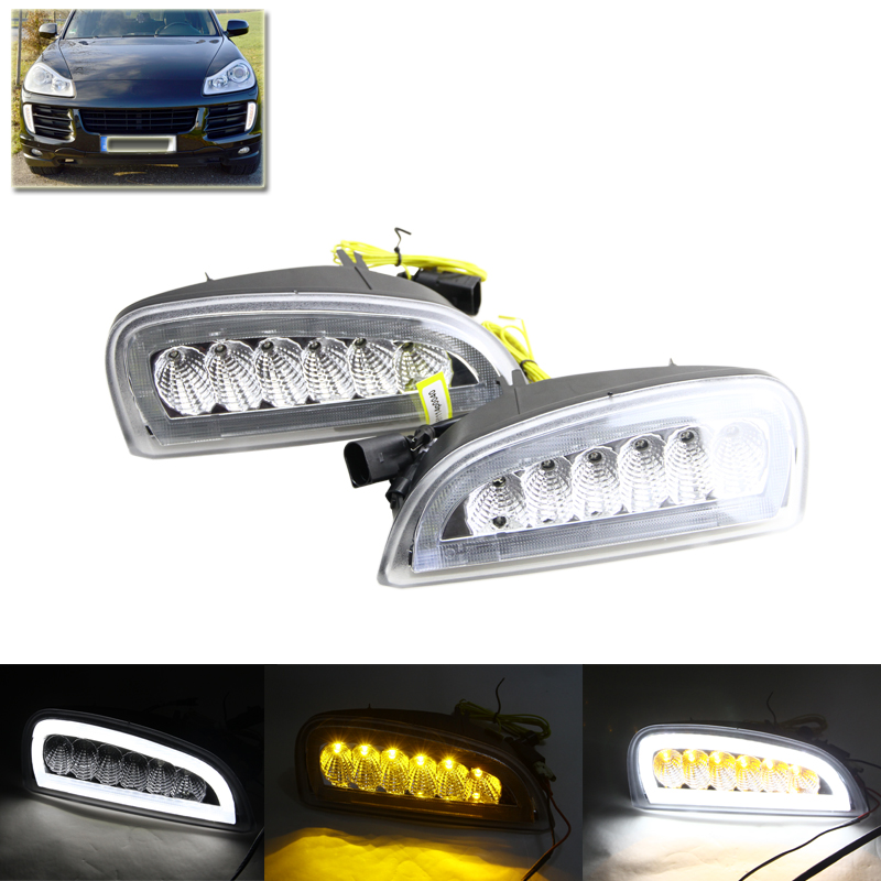 Clear Lens Xenon White Led Daytime Running Lights W/ Amber Turn Signal Lamp For Porsche Cayenne 2007-2010 Car DRL Fog Light
