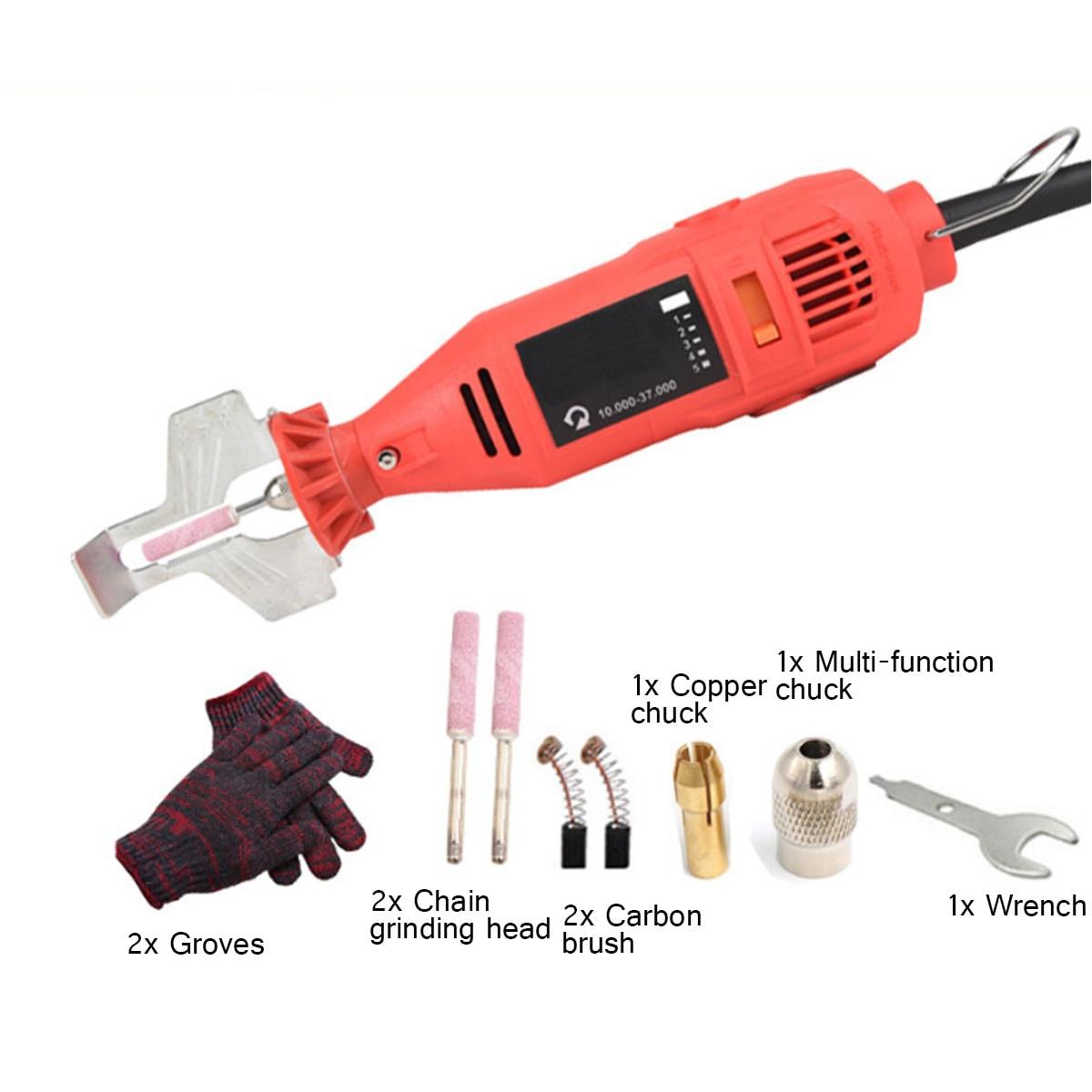 180W 5 Getriebe Kettensäge Schleifen Maschine Spitzer Kettensäge Elektrische Mini Handheld Mühle Datei Fräsen Maschinen Werkzeuge Set