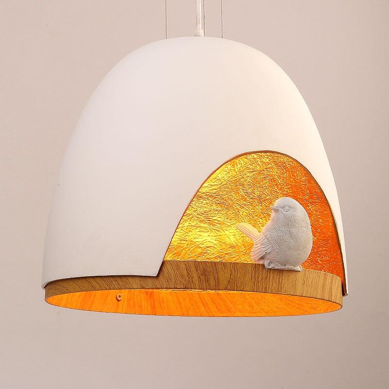 Modern Pendant Light Fixtures Dinning Room Kitchen Lamps Resin Bird White Black Iron E27 Lampshade Decor Home Lighting 110-240V