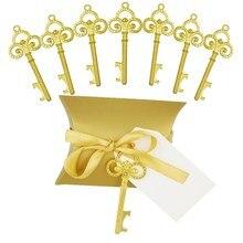 Золотая открывалка для бутылок с ключом, 50 шт./компл., с коробкой для конфет, каркас для свадебных поделок, для вечеринки, Деревенское украшение, отправить небольшой подарок годе