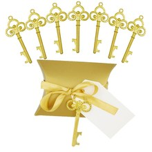 Abridor de garrafa chave de ouro 50 pçs/set, doce caixa de doces casamento esqueleto para festa decoração rústica enviar um pequeno presente para um convidado