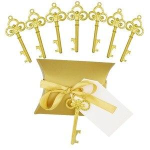 Image 1 - Abridor de garrafa chave de ouro 50 pçs/set, doce caixa de doces casamento esqueleto para festa decoração rústica enviar um pequeno presente para um convidado