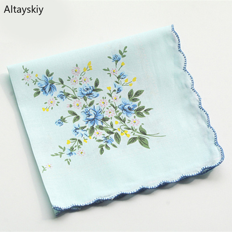 Handkerchiefs Women Floral Printing Thin Soft Cotton Womens Handkerchief Flowers Simple Kawaii All-match Leisure Trendy Students