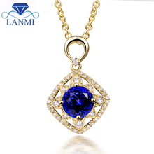 New Arrival Luxury Real 14K Yellow Gold Natural Tanzanite Pendant Necklace for Women Wholesale Jewelry Christmas Gift