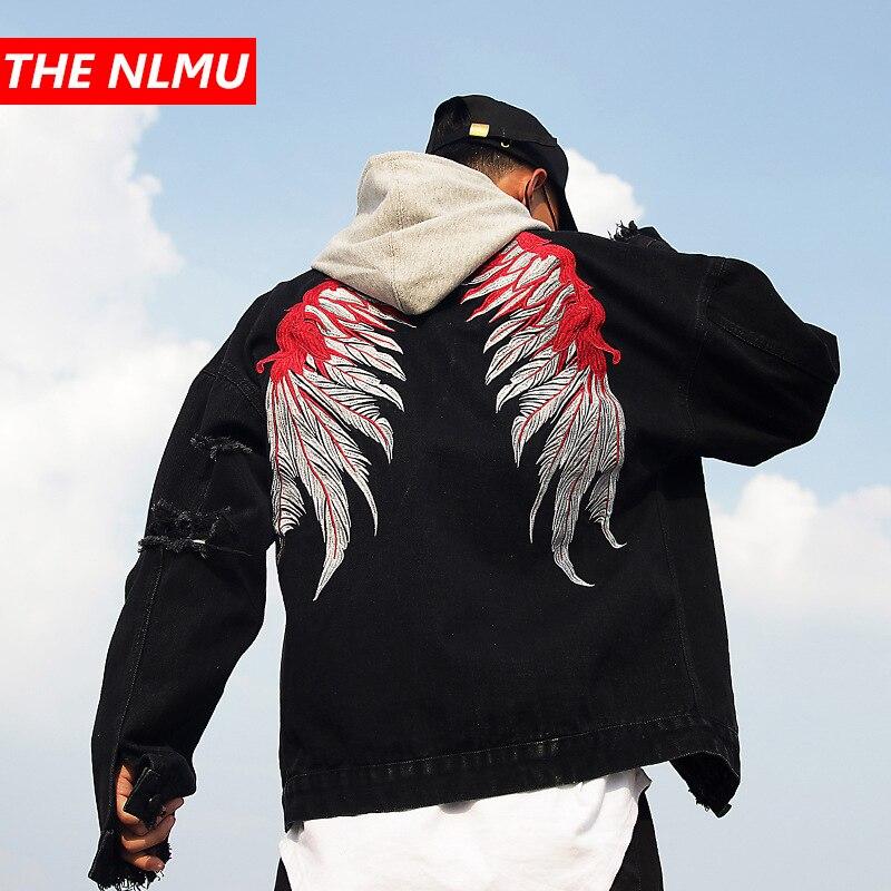 Hommes marque noir trou en détresse Denim vestes hommes haute rue aile broderie Jeans veste manteau hommes Hip Hop Streetwear WE359