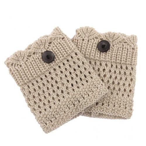 2019 Yeni Varış Sıcak Satış Kadın Kış Bacak Isıtıcıları Acrylon Yün Tığ Hollow Örgü Boot Çorap Toppers Manşetleri 9F