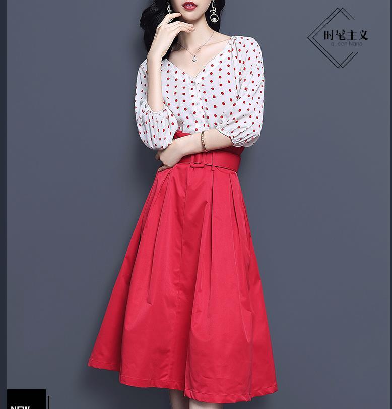 Jupe rouge taille haute costume pour femmes 2019 nouveau été col en v à pois deux pièces chemise