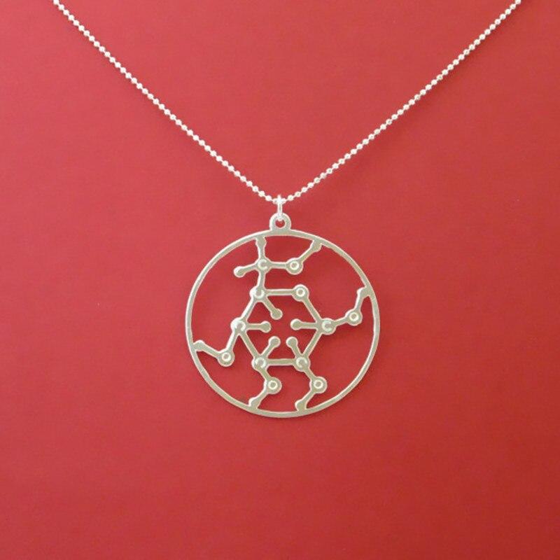 Wholesale Glucose molecule necklace font b Chemistry b font Pendant Silver plated necklaces pendants With 60