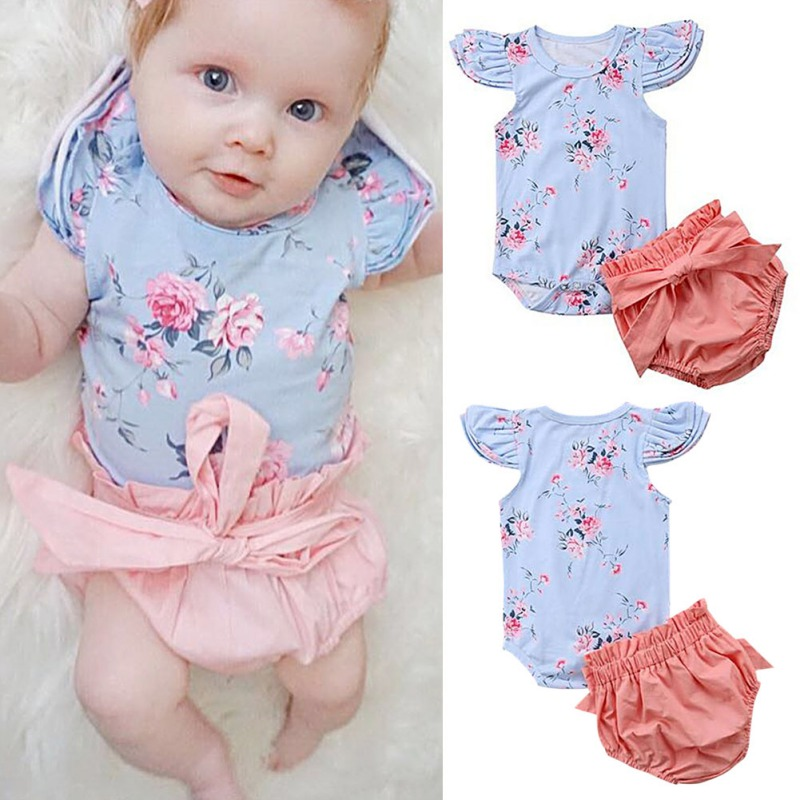 Summer Newborn Toddle Infant Baby Girls Bodysuit + Bow Shorts Floral Sleeveless Jumpsuit Cotton Outfits Clothes 0-36M