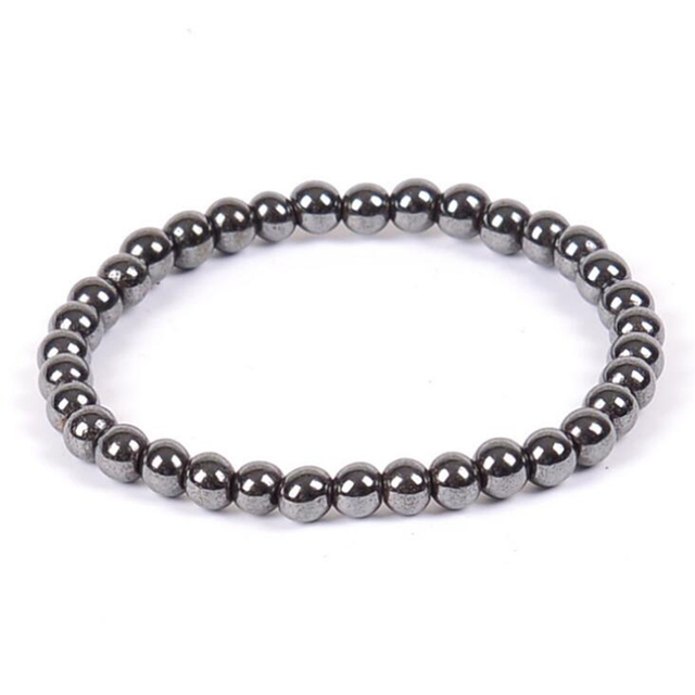 Weight Loss Round Black Nature stone Magnetic Therapy Health Bracelet Trendy Hematite Metal Stretch Bracelet For Men Women 2
