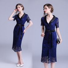 2018 Summer New Lace V-neck Double-breasted Temperament Commute Slim Waist Pocket Hip Dress vestidos цена 2017