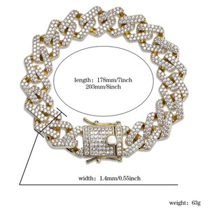 Image 5 - TOPGRILLZ Personality Hip Hop/Punk Mens Bracelets Iced Out Cubic Zircon Miami Curb Cuban Link Chain Bracelet Jewelry Gifts