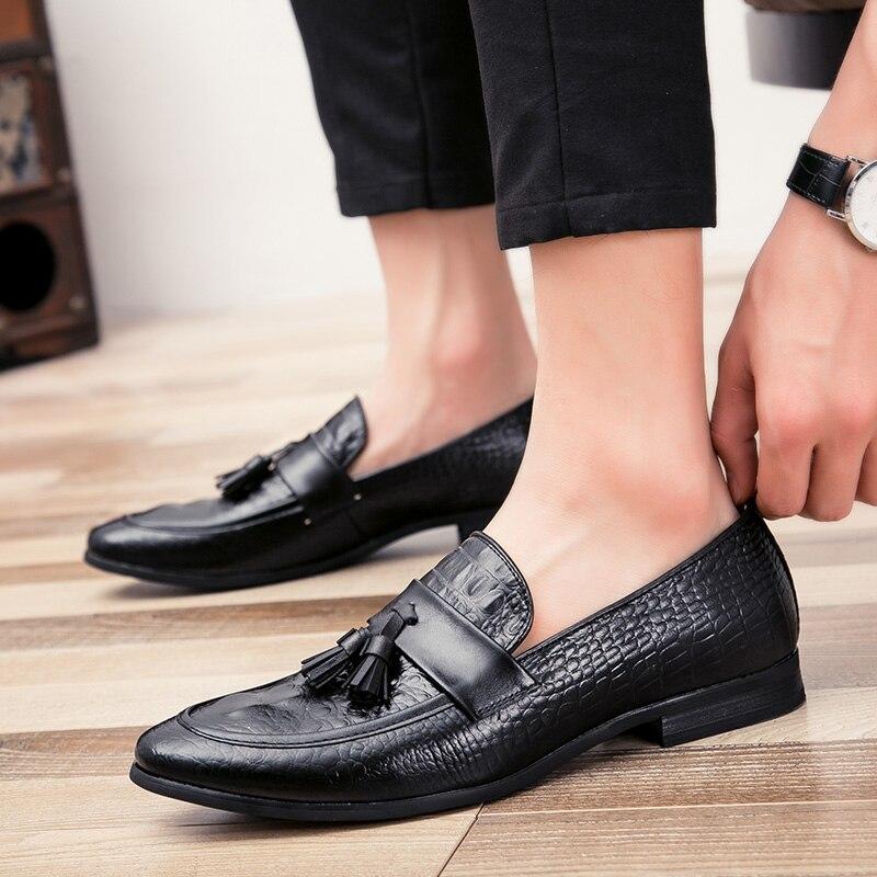mens tassel shoes leather italian formal snake fish skin dress office footwear luxury brand fashion elegant oxford shoes for men (25)