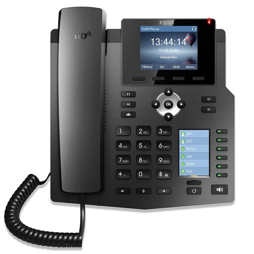 Voix HD de téléphone de bureau d'entreprise de téléphone IP Fanvil X4 Original avec l'affichage Intelligent d'affichage à cristaux liquides de carte de clé de ssd et 4 lignes de SIP