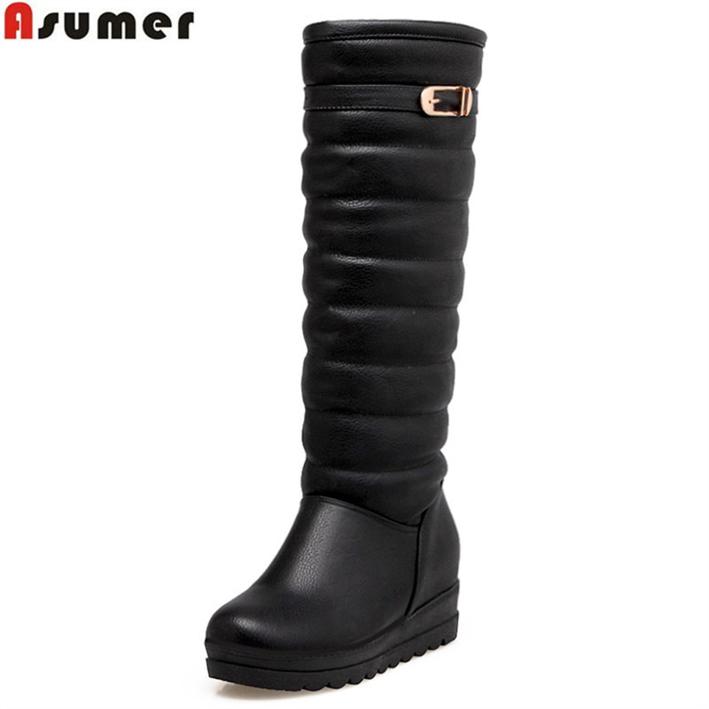 ASUMER new arrive women boots fashion black white ladies boots buckle simple snow boots elegant knee high boots Keep warm insideASUMER new arrive women boots fashion black white ladies boots buckle simple snow boots elegant knee high boots Keep warm inside