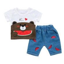 Baby Boy Summer Clothes Toddler Kids Cartoon Bear Short Sleeve T-shirt+Cowboy Shorts 2pcs Infant Clothing Casual Newborn Outfit