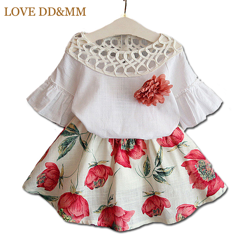 Girls Clothing Sets 2017 Summer Fashion Style New Girls Clothing Sets Kids Wear Flower + Skirts Children Simple Suits Clothes